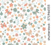 vector flower pattern. colorful ... | Shutterstock .eps vector #571966555