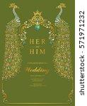 indian wedding invitation card... | Shutterstock .eps vector #571971232