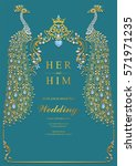 indian wedding invitation card... | Shutterstock .eps vector #571971235