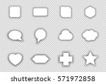 vector set of white shapes with ... | Shutterstock .eps vector #571972858