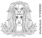 portrait of boho girl with lion ... | Shutterstock .eps vector #571983082