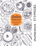 indian cuisine top view frame.... | Shutterstock .eps vector #571990282