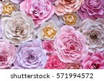 Stock photo colorful flowers paper background red pink purple brown yellow and peach handmade paper roses 571994572