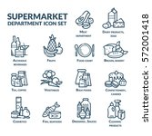 supermarket department icon set ... | Shutterstock .eps vector #572001418