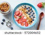 super food smoothie bowl with... | Shutterstock . vector #572004652