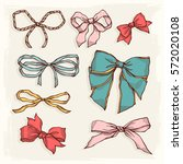 set of vintage bows. collection ... | Shutterstock .eps vector #572020108