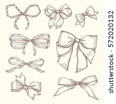 set of vintage bows. collection ... | Shutterstock .eps vector #572020132