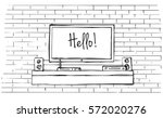 linear sketch of the interior.... | Shutterstock .eps vector #572020276