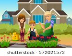 a vector illustration of mother ... | Shutterstock .eps vector #572021572