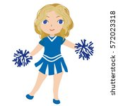 cheerleader in blue uniform.... | Shutterstock .eps vector #572023318
