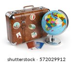 travel or tourism concept. old... | Shutterstock . vector #572029912