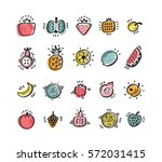 food set. doodle fruits and... | Shutterstock .eps vector #572031415