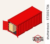 isometric shipping container... | Shutterstock .eps vector #572031736
