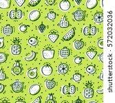 food background. doodle fruits... | Shutterstock .eps vector #572032036