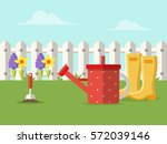 spring garden  flowers and... | Shutterstock .eps vector #572039146