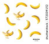 Small photo of Seamless pattern with bananas. Tropical abstract background.
