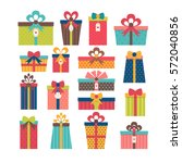 set of different gift boxes.... | Shutterstock .eps vector #572040856