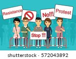 the crowd of protesters with... | Shutterstock .eps vector #572043892