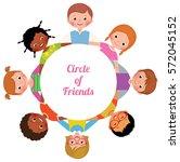 happy cheerful children girls... | Shutterstock .eps vector #572045152