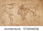 world map on an old piece of...   Shutterstock . vector #572046028