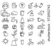 set of hand drawn eco icons.... | Shutterstock .eps vector #572052742