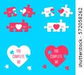you complete me. heart sign.... | Shutterstock .eps vector #572058262