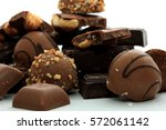 different sorts of chocolates ... | Shutterstock . vector #572061142