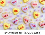 heart shaped sugar cookies with ... | Shutterstock . vector #572061355