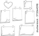 hand drawn of note papers  ... | Shutterstock .eps vector #572064598