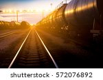 the train on the platform of...   Shutterstock . vector #572076892