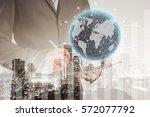 double exposure of success... | Shutterstock . vector #572077792