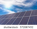 solar panel with strong sun and ... | Shutterstock . vector #572087452