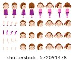 little girl character creation... | Shutterstock .eps vector #572091478
