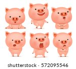 collection of funny pig... | Shutterstock .eps vector #572095546