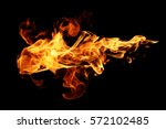 fire flames isolated on black... | Shutterstock . vector #572102485