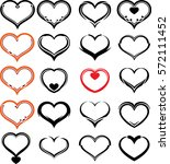 heart icon sketch style vector... | Shutterstock .eps vector #572111452
