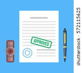 approved document with stamp... | Shutterstock .eps vector #572115625