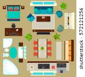 top view apartment interior set ... | Shutterstock .eps vector #572121256