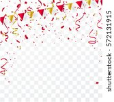 confetti and flag ribbons ... | Shutterstock .eps vector #572131915