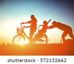biker family silhouette father...