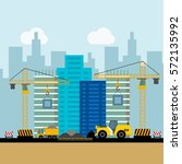 construction worker and building | Shutterstock .eps vector #572135992