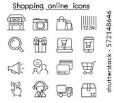 shopping online icon set in... | Shutterstock .eps vector #572148646
