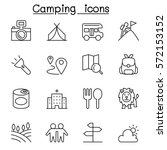 camping   hiking icon set in... | Shutterstock .eps vector #572153152
