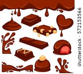 vector icons of sweet choco... | Shutterstock .eps vector #572153566