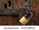 close up of brass padlock and...