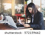 business woman working outside... | Shutterstock . vector #572159662