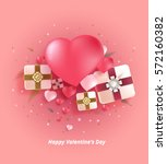 heart and gift box background.... | Shutterstock .eps vector #572160382
