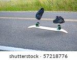 an invisible skateboarder... | Shutterstock . vector #57218776