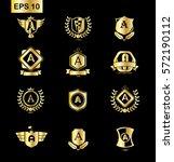 set of initial letter a golden...   Shutterstock .eps vector #572190112