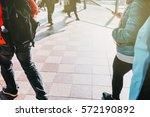 people walking in the street  ...   Shutterstock . vector #572190892